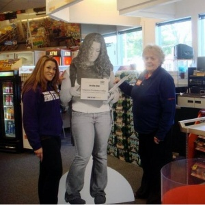 My friend Amy with Nonni and Amy's URI promotional cutout in CVS.