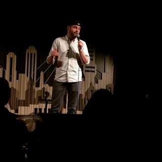 Comedian Brent Morin, onstage at Laugh Boston