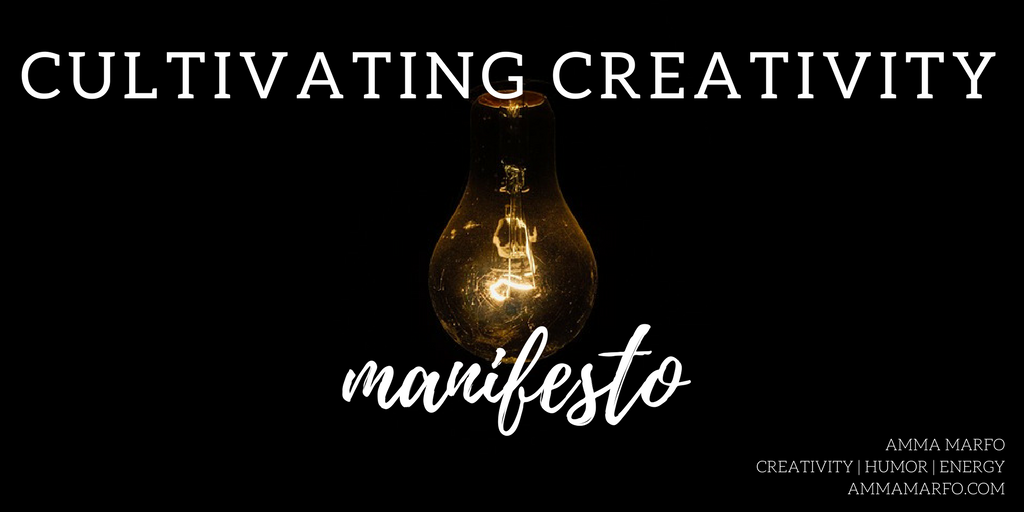cultivating creativity manifesto with lightbulb background