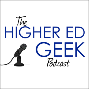 Higher Ed Geek logo- blue text with a microphone icon in the bottom left.