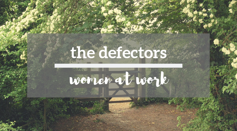 "wooden post fence, surrounded by flowering trees, with ""The Defectors: Women at Work"" overlaid in white text"