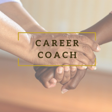 """Career Coach"" overlaid on photo of hands clasped"