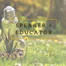 """Speaker and Educator"" overlaid on lightbulb with plant inside resting on grass in a park"